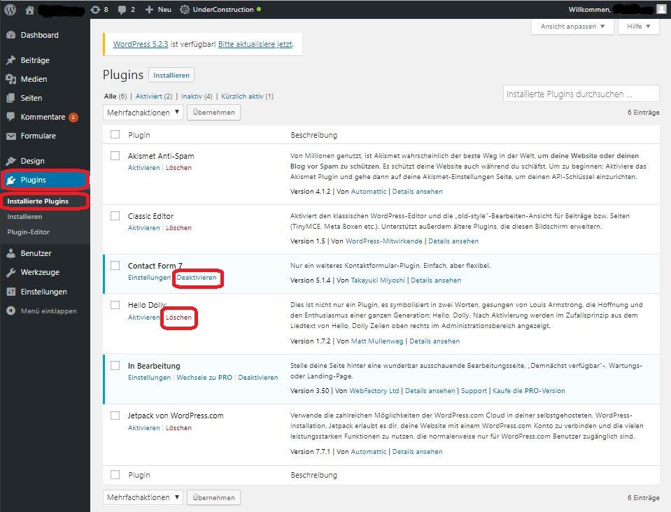 WordPress Plugins betten neue Funktionen in Ihre Seite ein