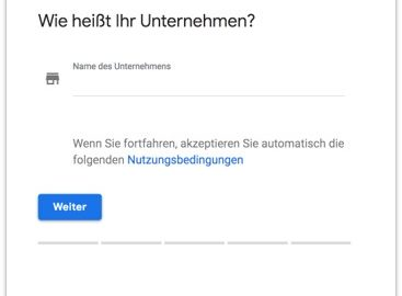 Google My Business - Unternehmensname eingeben