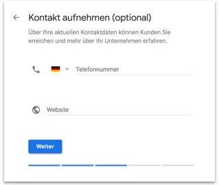 Google My Business - Kontaktdaten eingeben