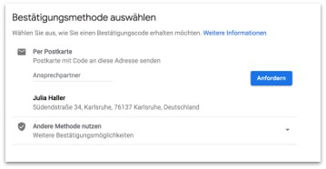 Google My Business - Verifizierungsmethode auswählen