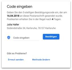 Google My Business - Registrierungscode eingeben
