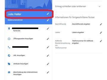 Google My Business - Eintrag anpassen - Name