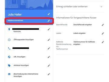 Google My Business - Eintrag anpassen - Kategorien