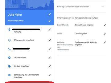 Google My Business - Eintrag bearbeiten - Eröffnungsdatum