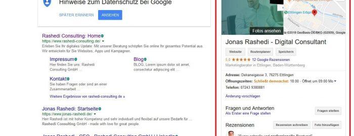 Google My Business - Unternehmenseintrag suchen