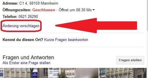 """Screenshot Google My Business """"Änderung vorschlagen"""""""