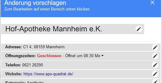 "Screenshot Google My Business ""Änderungen vorschlagen"""
