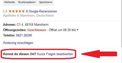 """Screenshot Google My Business """"Kennst Du diesen Ort?"""""""