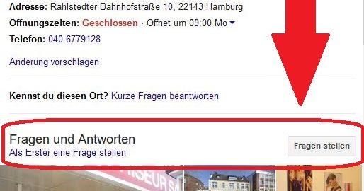 Screenshot Google My Business: Fragen und Antworten