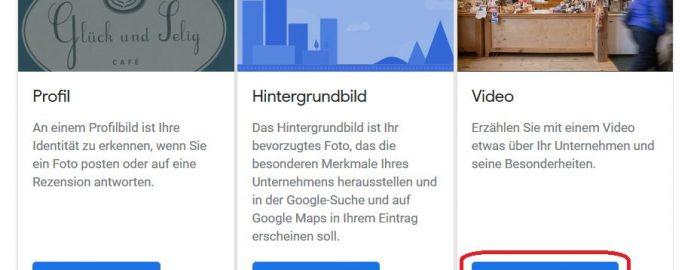 Screenshot Google My Business: Video hinzufügen