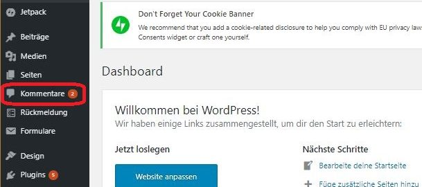 Wordpress, Kommentare