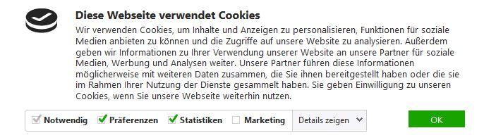 Typische Cookie Anzeige