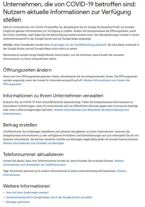 So halten Sie Ihren Google-Eintrag während der Corona-Krise aktuell.