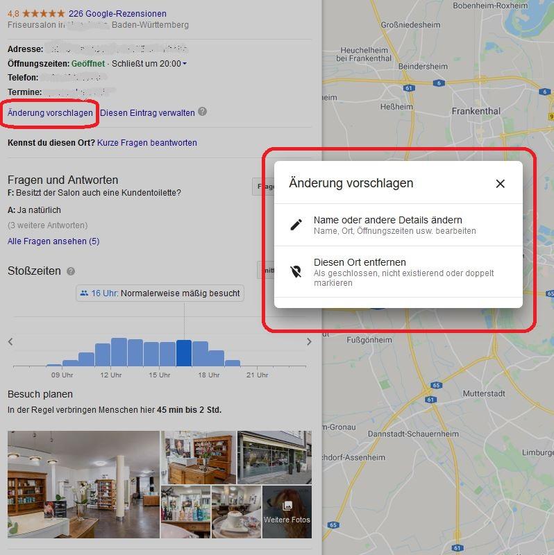 Jeder Nutzer kann Änderungen an Ihrem Google-Eintrag vorschlagen.