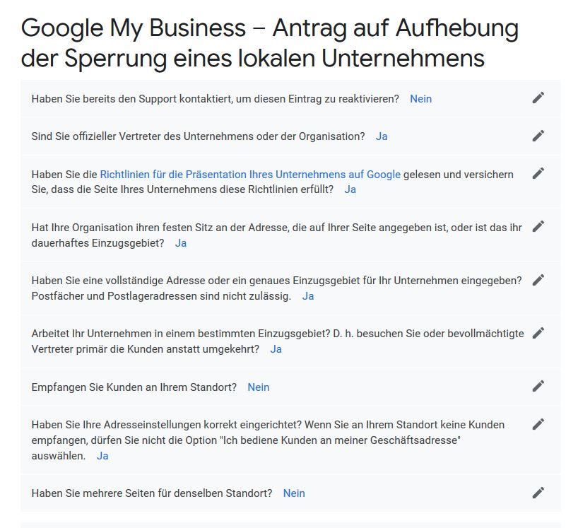 Vor der Überprüfung der Sperrung fragt Google wichtige Informationen von Ihnen ab.